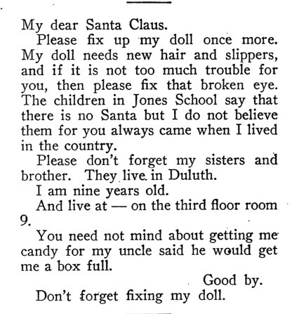 This doll demand for Santa was received by the Chicago Bureau of Charities in 1907.