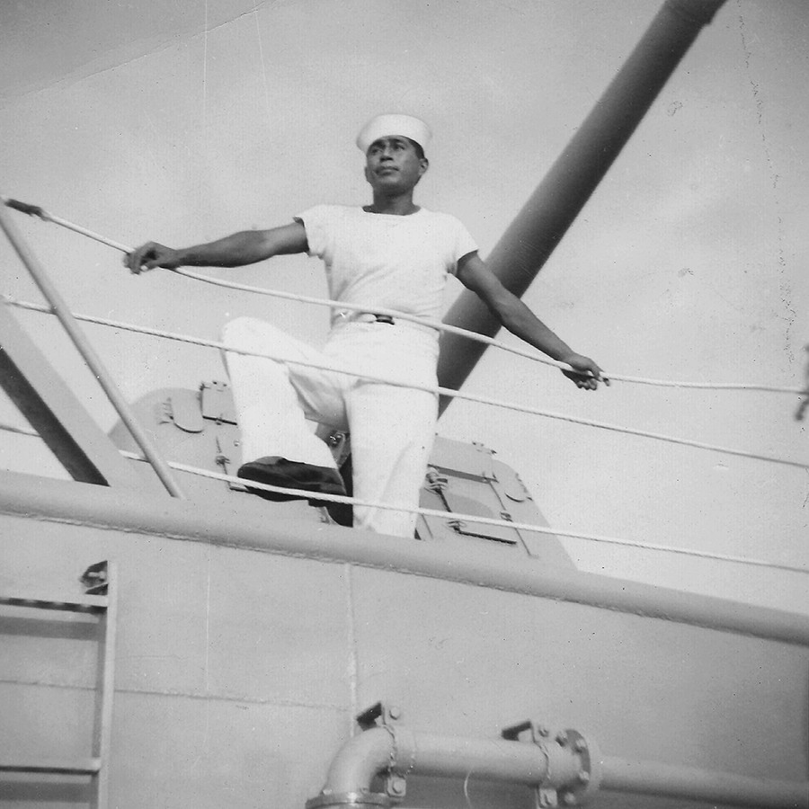 Garcia in the Navy in Norfolk, Virginia, 1956. - As a lower ranked sailor, Garcia would be hoisted over the side of the ship to clean off rust and debris. One day he decided to challenge his fellow shipman to see who could complete the task the fastest. Unbeknownst to them, the captain saw them as they rushed to see who would finish first. Impressed by their tenacity, he offered them the chance to train in any department they wished. - COURTESY JOSE GARCIA