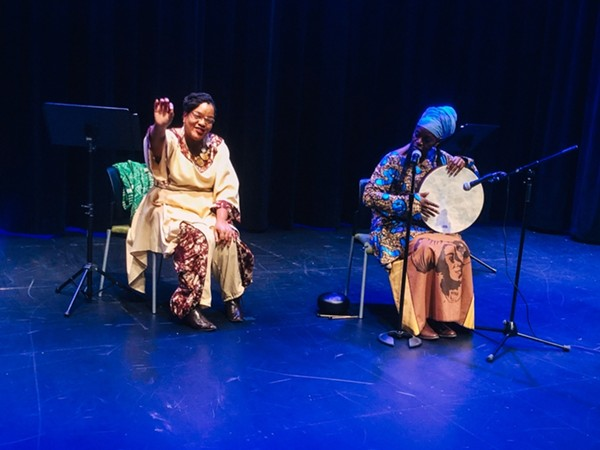 """Emily Hooper Lansana (left) and Zahra Baker perform """"Sister Girls and Freedom Fighters"""" at the Green Line Performing Arts Center as part of its GreenLine series. - DANIELLE A. SCRUGGS"""