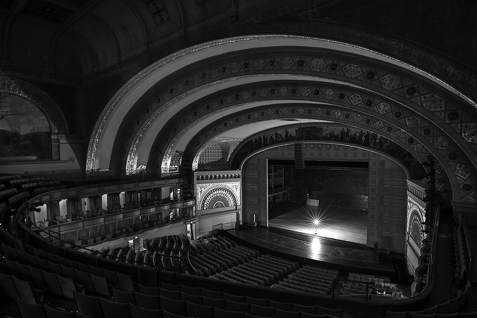 Auditorium Theater. Joffrey Ballet completed a run of Anna Karenina the night before, so the sprung deck is still on the stage. - MATTHEW GILSON