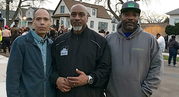 Nasir Blackwell (left) with William Moore, Green ReEntry case manager, and John Hooks, IMAN intervention outreach worker - NASIR BLACKWELL