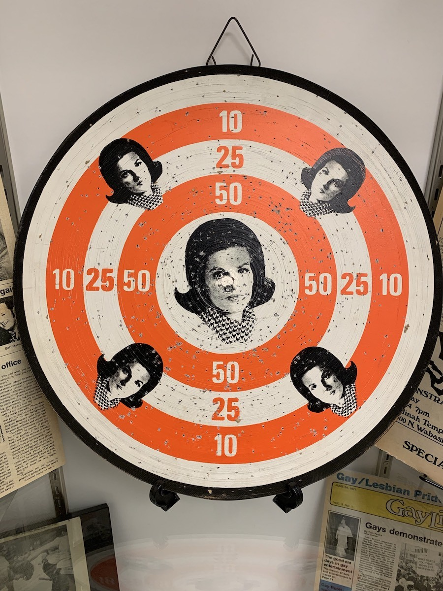 A dart board bearing the image of Anita Bryant's face, sold in response to her anti-gay campaign - CHASE OLLIS