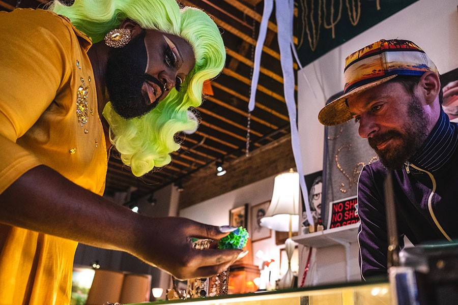 Lucy Stoole and her old friend Chris Hunt, owner of Seek Vintage - DARIUS GRIFFIN