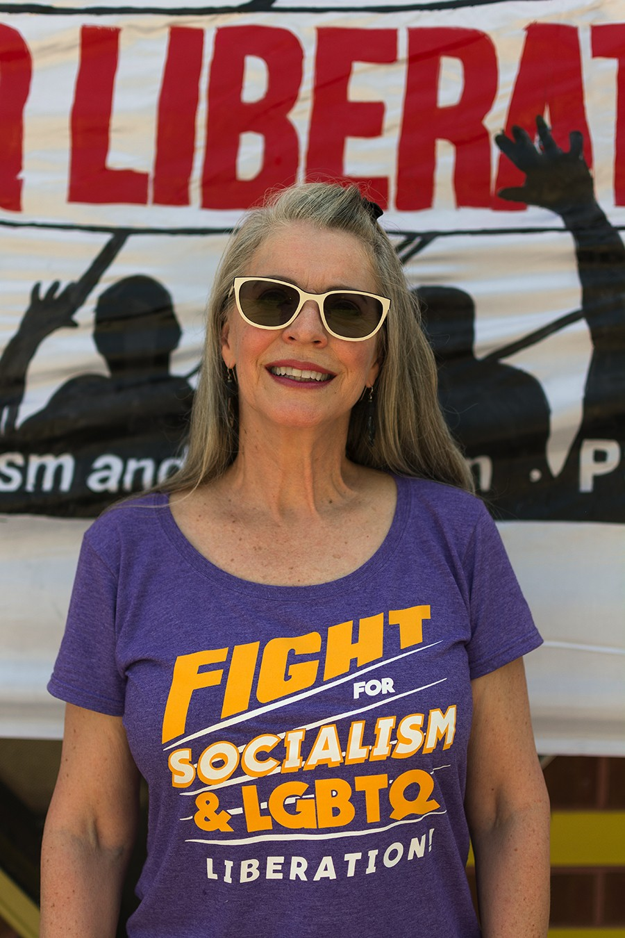 """Linda Winter: """"My heart's in the revolution. My heart is for the full rights of all people. And I don't see how that will happen under capitalism. We're seeing examples right now how, you know, rights that were won in the 60s are now being eroded, and taken away. And [I believe in] a revolution for the people."""" - ROBYN DAY"""