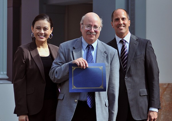 Flug, center, with CPL board member Christopher Valenti and former board member Julia Zhu - COURTESY CHICAGO PUBLIC LIBRARY