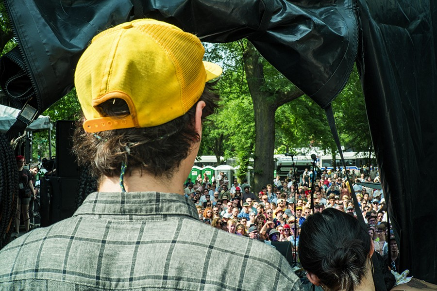 Clay Frankel looks at the crowd before performing at Pitchfork. - TIM NAGLE