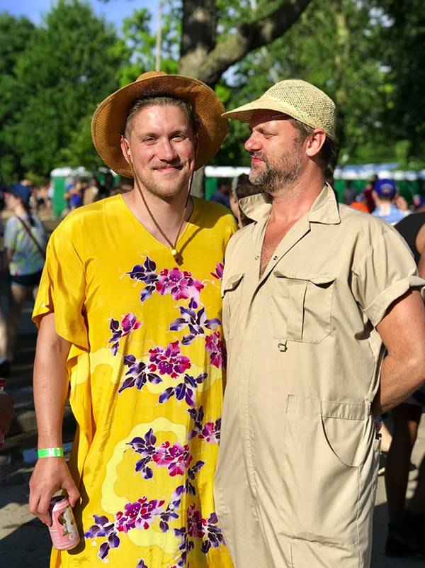 Sean Burpee and Michael Andrews found comfort in a thrifted dress and a jumpsuit from the women's section at Urban Outfitters. - ISA GIALLORENZO