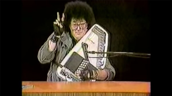 """Rob Tyner of the MC5 plays """"Grande Days"""" in a 1980s TV clip uploaded to YouTube. - MILES .KITTREDGE/YOUTUBE"""