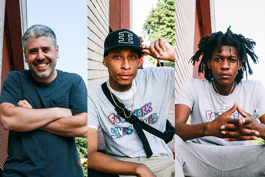 "From left: Wills Glasspiegel, Jamal ""Litebulb"" Oliver, and Sterling ""Steelo"" Lofton, all members of the Era. Glasspiegel and Litebulb helped found Open the Circle, and Litebulb and Steelo teach footwork for the group. - LAWRENCE AGYEI"