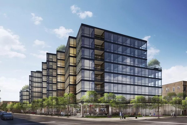 The eight-story steel-and-glass building would include 246 apartments, with 107 car parking spaces and 129 bicycle spots. - OPTIMA, INC.