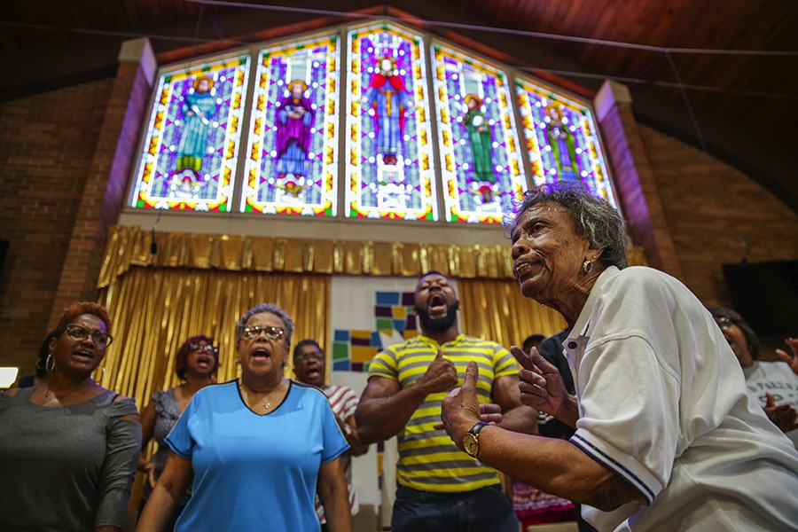 Mama Lou was recently invited to Greater Grace Church in Merrillville, Indiana, to direct the choir and teach its members new songs. - GEOFF STELLFOX FOR CHICAGO READER