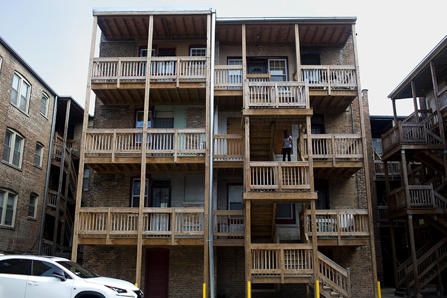 Renovations of Oglesby Manor's back porches were a costly project for the cash-strapped co-op. Some residents are concerned about the quality and safety of the construction. - KRISTEN NORMAN FOR CHICAGO READER