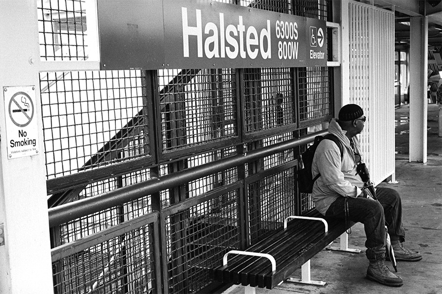 A man waits patiently at Halsted. - W.D. FLOYD FOR CHICAGO READER