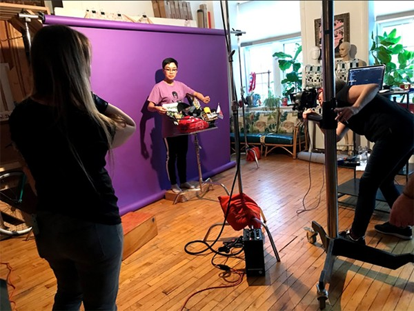 Lisa photographs Reader creative lead Sue Kwong for the Buy Local shoot as Jamie Ramsay offers prop advice. - LENI MANAA-HOPPENWORTH FOR CHICAGO READER
