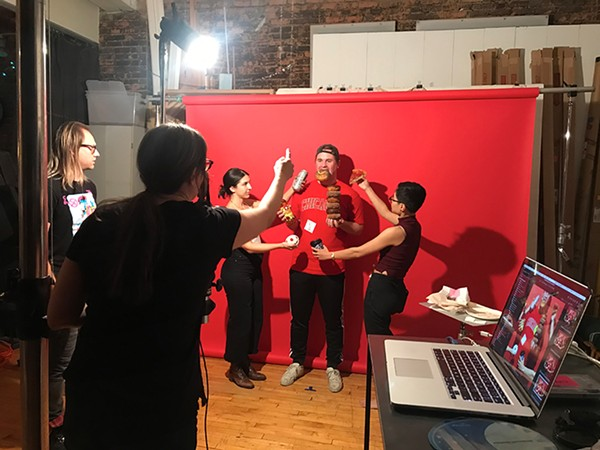 Reader client relationship manager Ted Piekarz (center) poses for the Food & Drink shoot with editorial associate S. Nicole Lane (to his left) and creative lead Sue Kwong, along with photographer Lisa Predko and photo assistant Brian Gladkowski. - JAMIE RAMSAY FOR CHICAGO READER