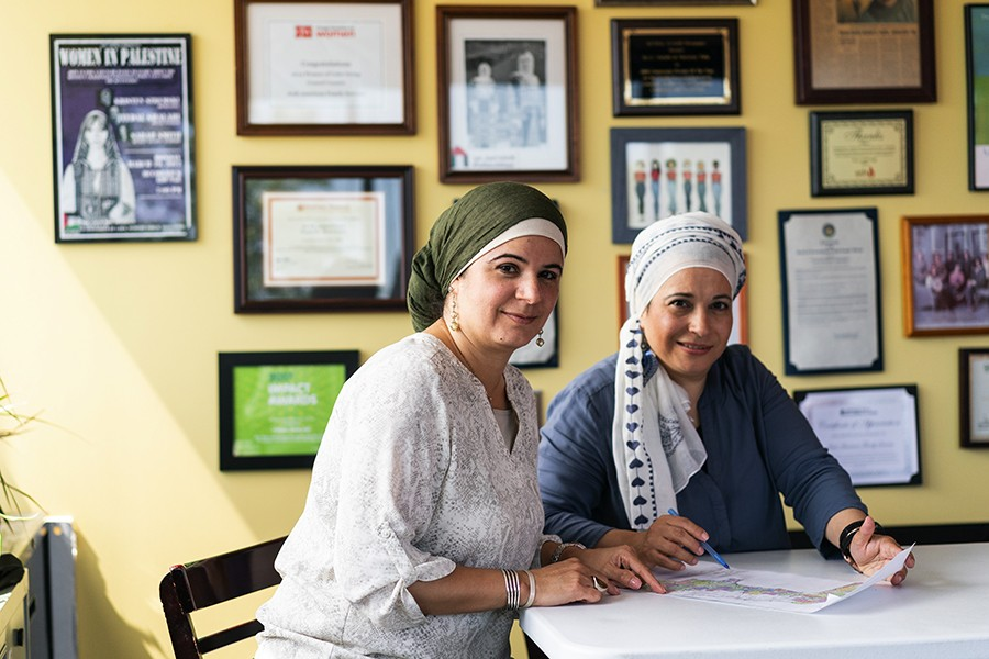 Arab American Family Services cofounders Nareman Taha and Itedal Shalabi in their office in suburban Worth. - MAX HERMAN