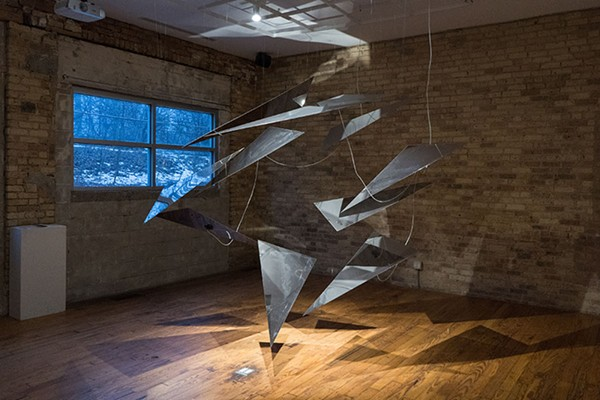 The sculptural elements of Requiem: A White Wanderer, shown here installed at Experimental Sound Studio - MEG T. NOE