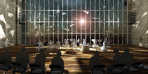 A mockup of the Pritzker Pavilion stage demonstrating how the sculptures pictured above will be incorporated into Saturday's concerts - COURTESY LUFTWERK