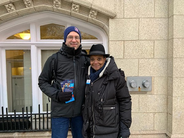 Alderman Scott Waguespack campaigning with longshot mayoral candidate Lori Lightfoot last winter - LIGHTFOOT CAMPAIGN FACEBOOK PAGE