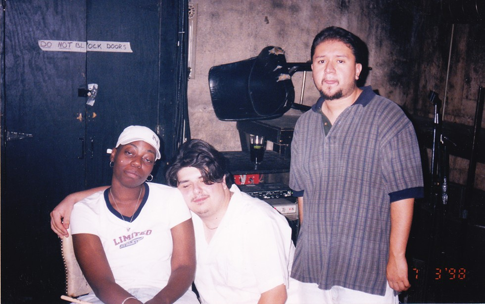 Ang13 (left) with PNS and Panik of the Molemen at Blue Groove Lounge in 1998 - COURTESY JESSE DE LA PEÑA
