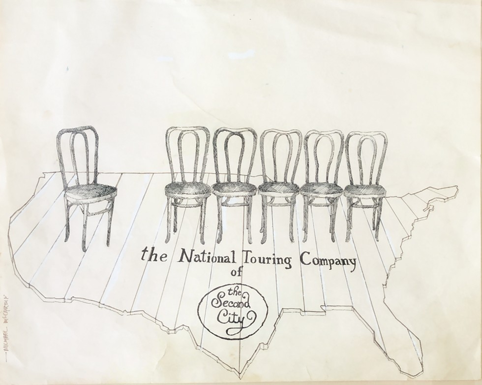 This drawing by Michael McCarthy hung in Joyce Sloane's Second City office. - COURTESY CHERYL SLOANE