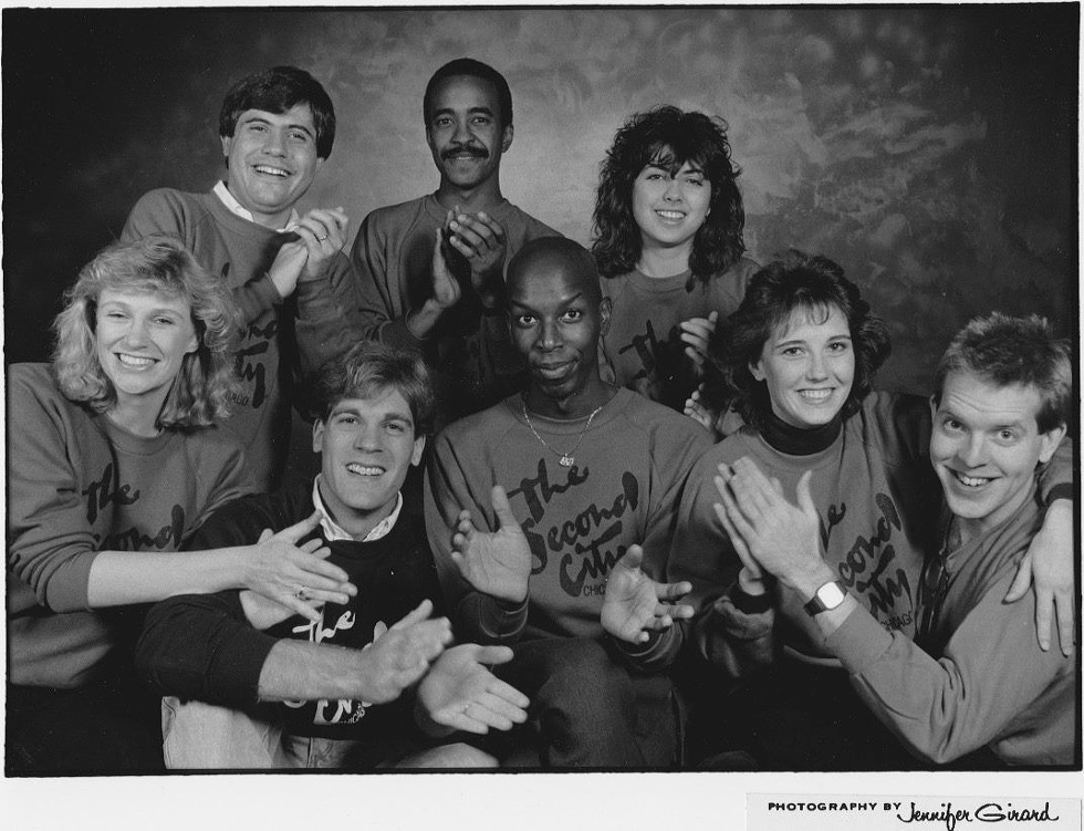 Gregory Hollimon and Michael McCarthy with other Second City cast members. - COURTESY GREGORY HOLLIMON
