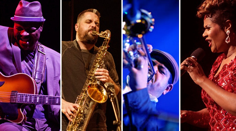 Bobby Broom, Dave Rempis, Tito Carrillo, and Denise Thimes are among the musicians participating in Millennium Park at Home: Jazz Music over Labor Day weekend. - PHOTOS COURTESY THE ARTISTS / COLLAGE BY RACHEL HAWLEY