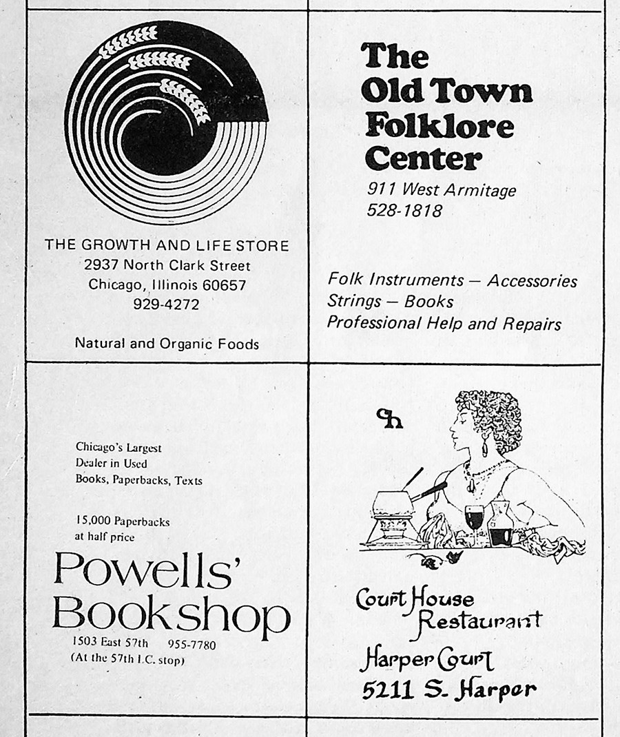 Another Old Town Folklore Center ad, along with its neighbors from November 19, 1971.