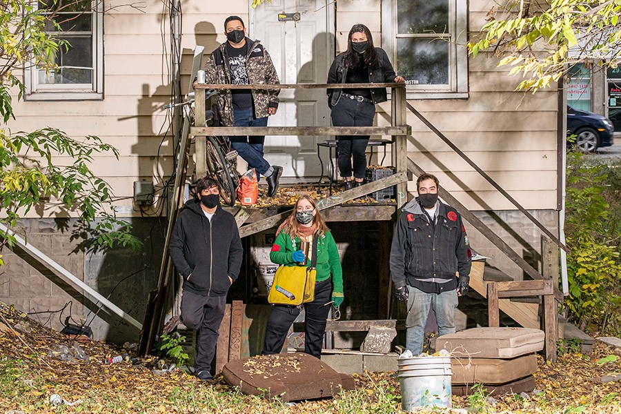 """Rancho Huevos tenants and regulars from the past 16 years or so, out in front of the house. Clockwise from top left: Benny Hernandez, Lindsey Rae, Josh Piotrowski, Chris """"Kisston"""" Georges, and Chris Cabay. - ERIC STROM FOR CHICAGO READER"""