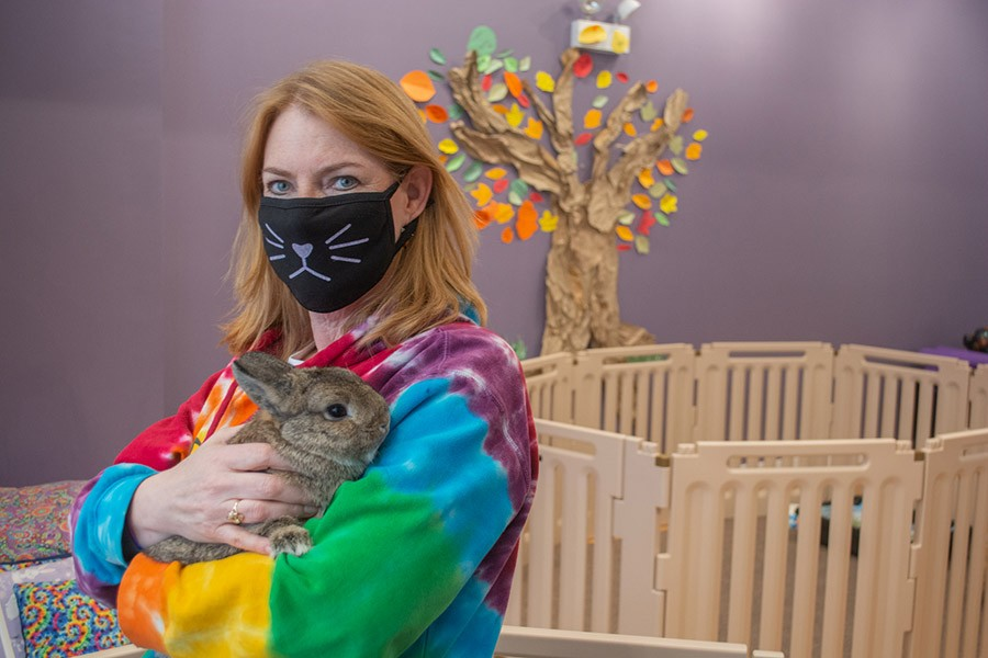 Cuddle Bunny founder Barbara Burdick with Fiona, who is said to be the cuddliest of the rabbits. - ORIANE PLAYNER