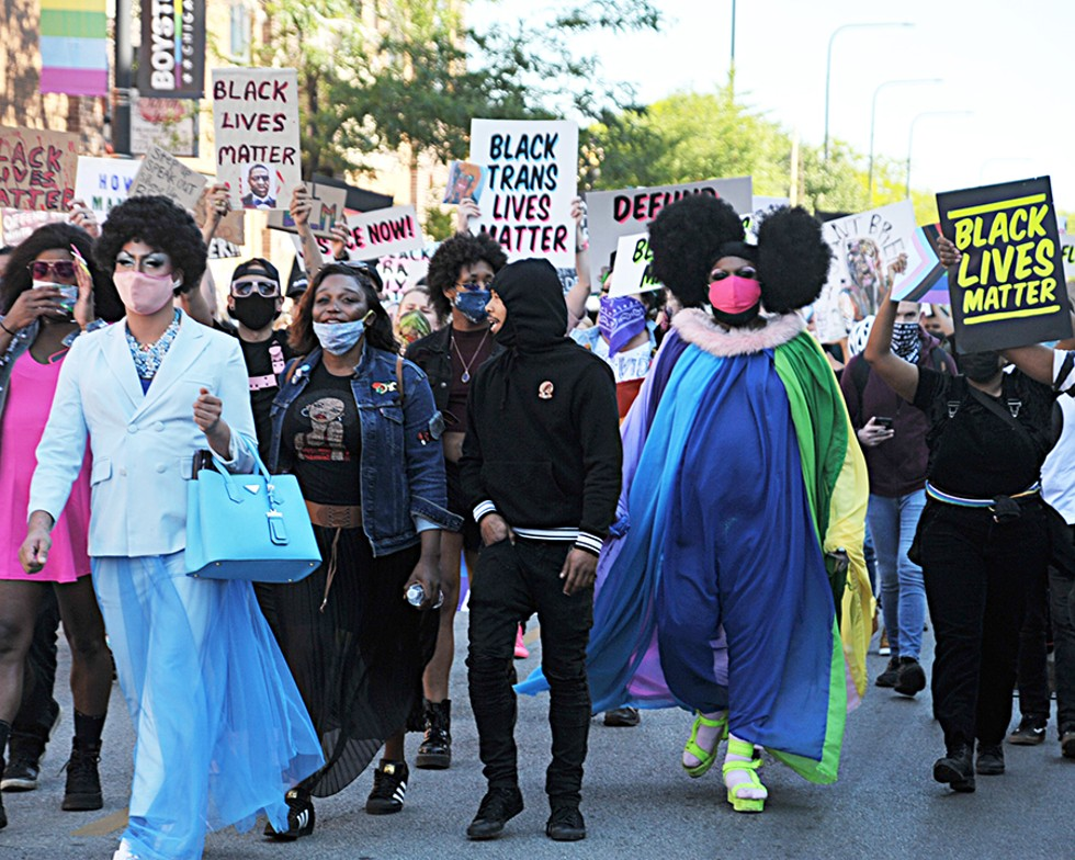All photos are from the Drag March for Change in June 2020, a Black, queer-led protest down Halsted Street, Boystown's main drag. Performers Jo Mama (left, in blue) and Lucy Stoole (right, in the red mask) co-chair the Chicago Black Drag Council. - VERN HESTER