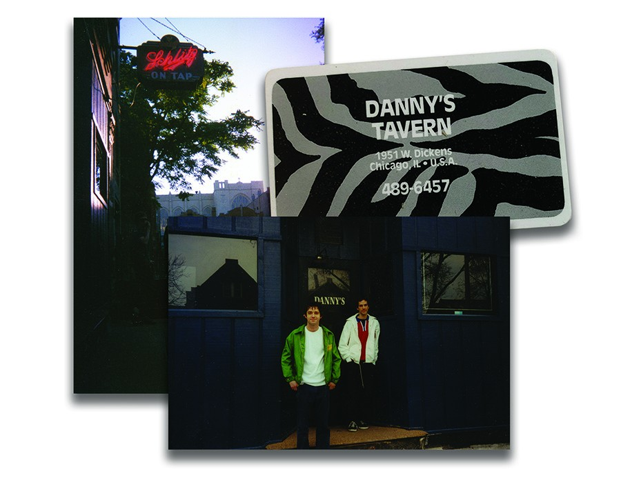 The Schlitz sign that hangs outside Danny's Tavern; one of the bar's business cards (with a map on the back) from the early 90s; longtime Danny's managers Kevin Stacy and Ken Kordich in 1998 - PHOTOS COURTESY KIM AMBRIZ AND KEVIN STACY; BUSINESS CARD COURTESY TERRY ALEXANDER