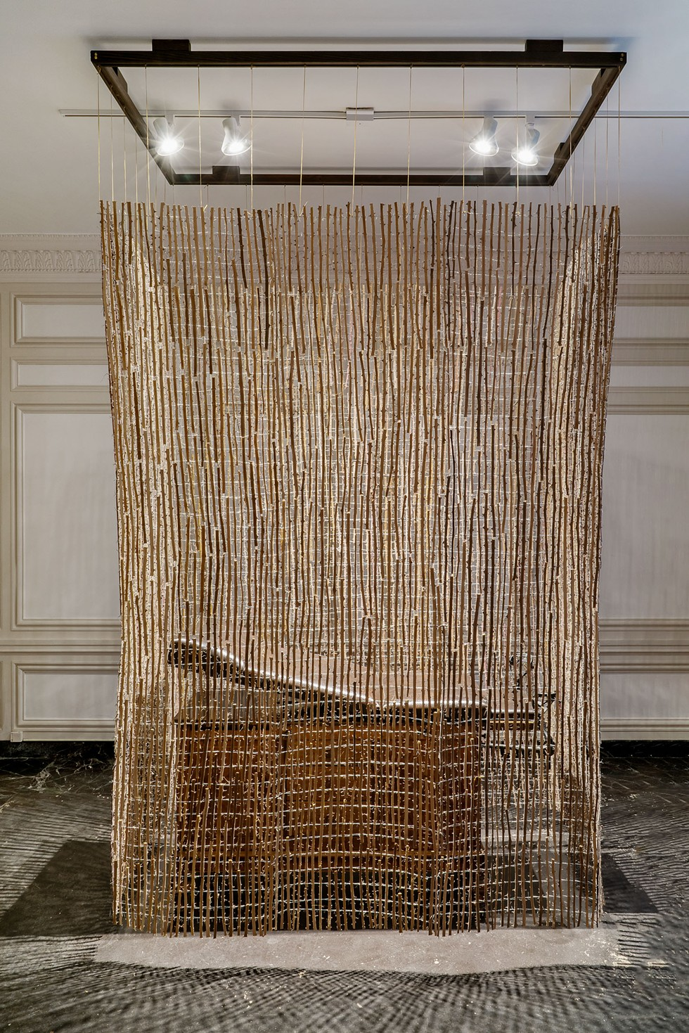 Selva Aparicio, Hysteria, 2020. Thorn branches woven with ligature and Hamilton obstetric table from 1931. - ROBERT CHASE HEISHMAN