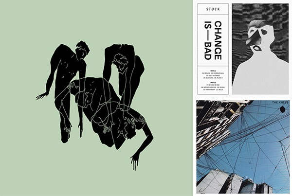Cover art for 2020 releases by Cafe Racer, Stuck, and the Knees