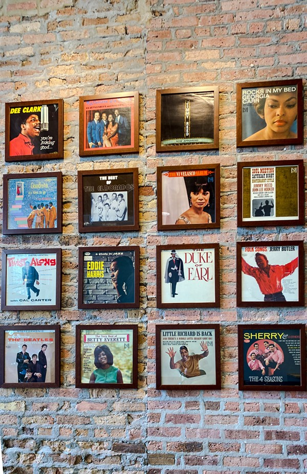 The walls of Overflow Coffee pay homage to Vee-Jay Records. - ANGELA BURKE