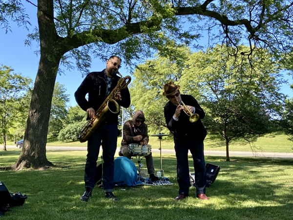 Dave Rempis, Tyler Damon, and Josh Berman in Margate Park on May 29, 2021 - PHILIP MONTORO