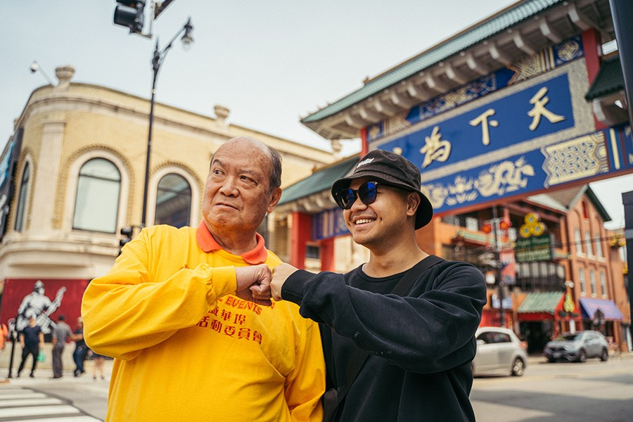 """For the first time in 42 years, a group of youths are now part of the Summer Fest committee, thanks to Shifa Zhong (right) here with Gene Lee, the """"mayor of Chinatown."""" - YIJUN PAN FOR CHICAGO READER"""