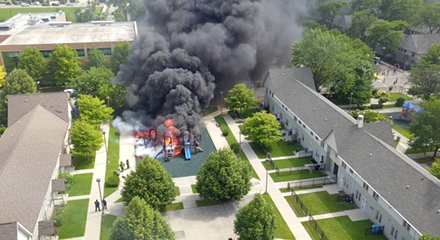 Dramatic video shows Chicago playground engulfed in flames