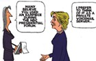 Did Hillary wear an earpiece? An opportunistic cartoonist has it both ways.