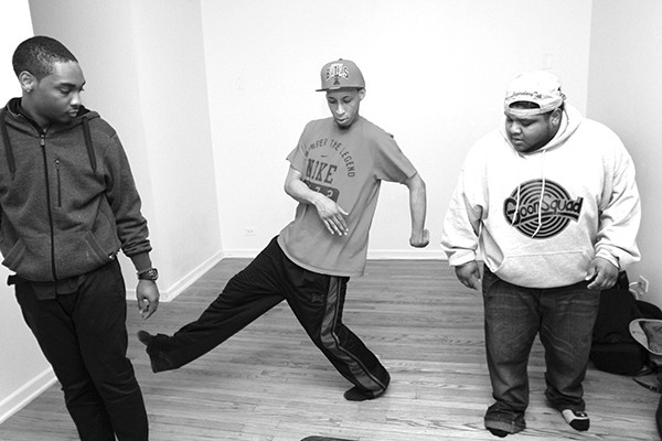 We don't have any stills from the footwork films the Era is screening on Friday, so here's a picture of members Chief Manny, Litebulb, and P-Top.