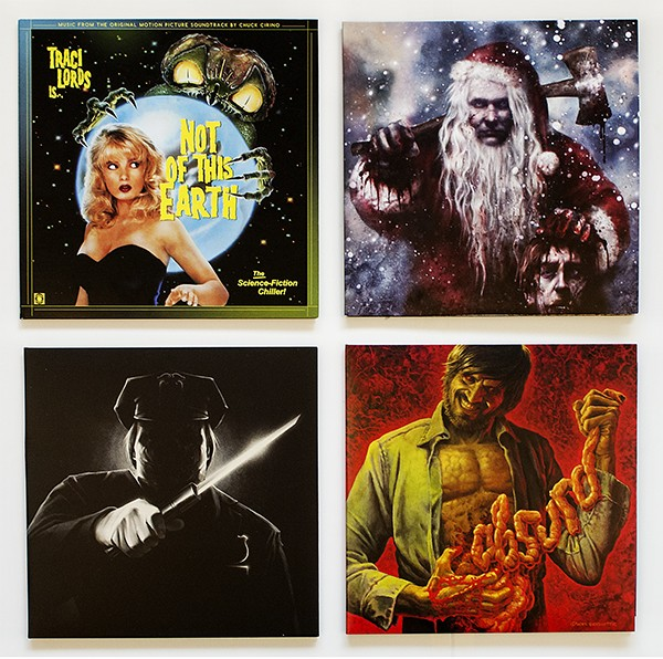 Four recent vinyl releases of music from horror movies: The 1988 remake of the 1957 Roger Corman film Not of This Earth, the 1984 Christmas slasher flick Silent Night, Deadly Night, the 1990 Robert Z'Dar vehicle Maniac Cop 2, and the 1981 Italian gorefest Absurd, originally titled Rosso Sangue