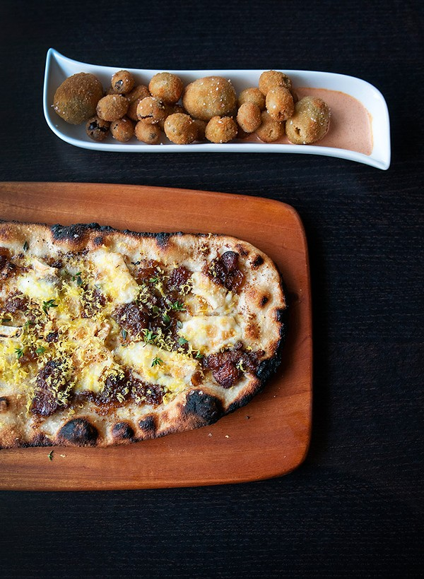 Deep-fried olives and wood-fired flatbread