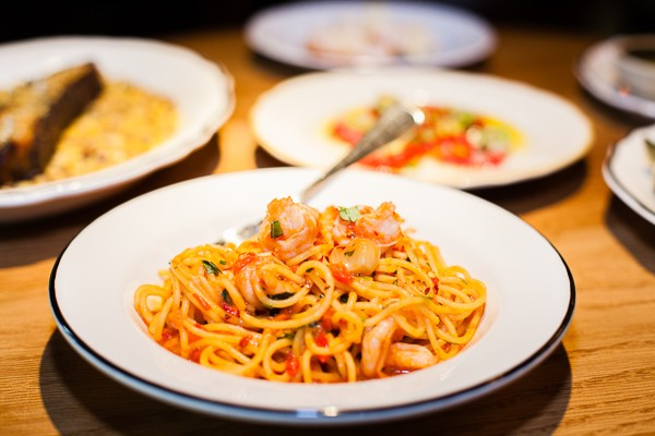 Scampi spaghetti with fat, sweet shrimp, whole roasted garlic, and Calabrian chiles