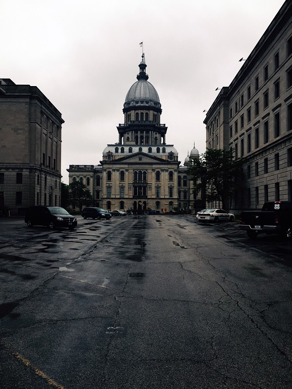 The Illinois State Capitol framed by doom and gloom