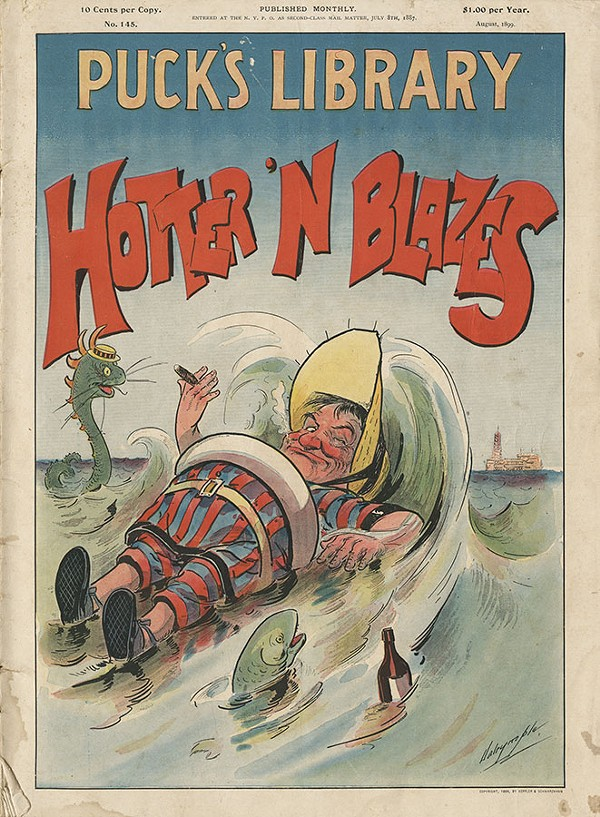 Hotter 'N Blazes, from August 1899, presented cartoons about summer activities.
