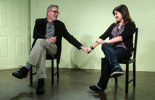 Susan Messing onstage with her husband, Michael Clayton McCarthy.