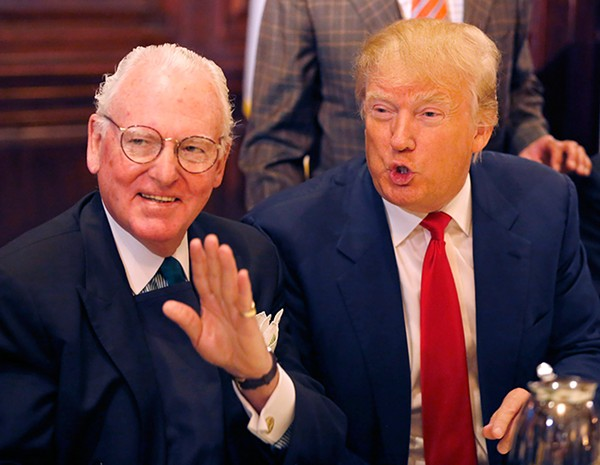 Alderman Edward Burke, left, and GOP presidential nominee Donald Trump at the City Club of Chicago in June 2015