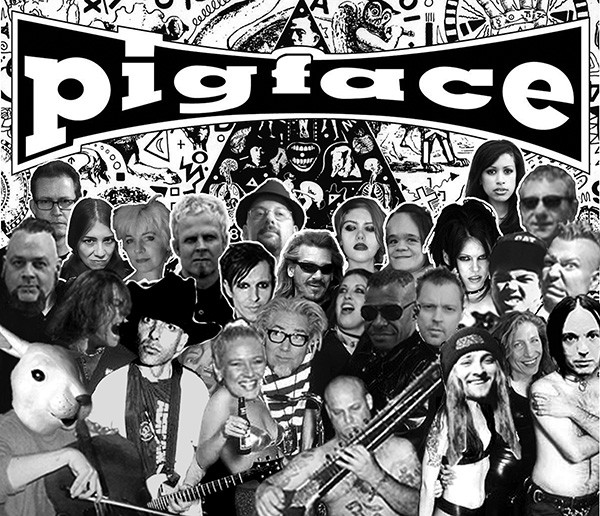 """Some of the many faces of Pigface. That's cofounder Martin Atkins in the center, with the glasses and striped shirt—can you spot Chris Vrenna, Fallon Bowman, En Esch, and Frankie """"Groovie Mann"""" Nardiello?"""