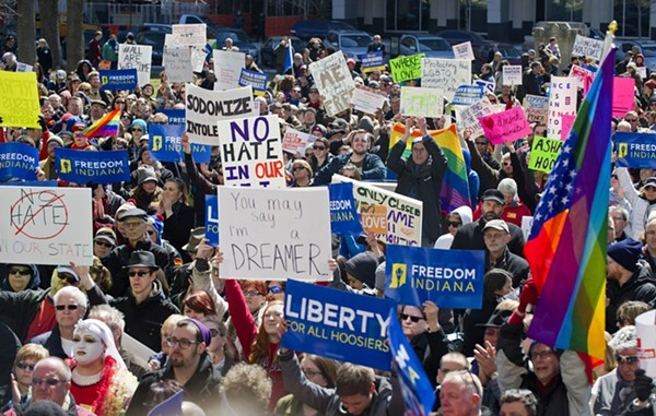 Opponents of an Indiana religious objections law rally outside the State House in Indianapolis in March 2015.