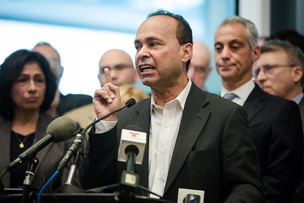 Congressman Luis Gutierrez speaks in support of immigrants and sanctuary cities at a mid-November press conference.